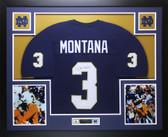 Joe Montana Autographed and Framed Blue Notre Dame Fighting IrishJersey JSA COA