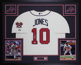 Chipper Jones Autographed & Framed Cream Atlanta Braves Jersey PSA COA