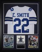 Emmitt Smith Autographed & Framed White Cowboys Jersey Auto Beckett COA D2-V
