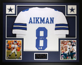 Troy Aikman Autographed and Framed White Dallas Cowboys Jersey Auto Beckett Certified