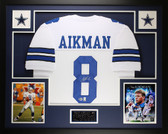 Troy Aikman Autographed & Framed White Dallas Cowboys Jersey Auto Beckett COA