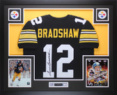 Terry Bradshaw Autographed and Framed Black Pittsburgh Steelers Jersey Auto JSA Certified