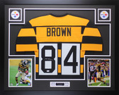 Antonio Brown Autographed & Framed Throwback Bumblebee Pittsburgh Steelers Auto JSA COA
