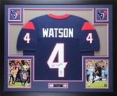 Deshaun Watson Autographed & Framed Blue Houston Texans Jersey Auto Beckett COA