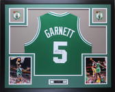 Kevin Garnett Autographed and Framed Green Boston Celtics Jersey PSA COA