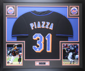 Mike Piazza Autographed & Framed Black New York Mets Jersey Auto JSA COA