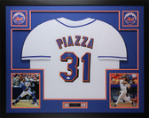 Mike Piazza Autographed & Framed White New York Mets Jersey Auto JSA COA