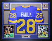 Marshall Faulk Autographed and Framed Blue St. Louis Rams Jersey Auto PSA COA