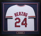 Whitey Herzog Autographed & Framed White St. Louis Cardinals Jersey Auto JSA COA