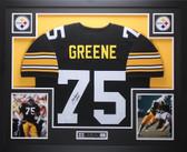 Joe Greene Autographed HOF 87 and Framed Black Pittsburgh Steelers Jersey Auto JSA Certified