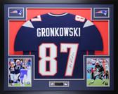 Rob Gronkowski Autographed & Framed Navy New England Patriots Jersey Auto Beckett COA