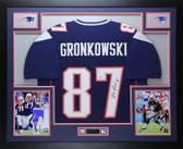 Rob Gronkowski Autographed & Framed Navy New England Patriots Jersey Auto Beckett Certified