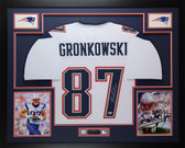 Rob Gronkowski Autographed & Framed White New England Patriots Jersey Auto Beckett COA