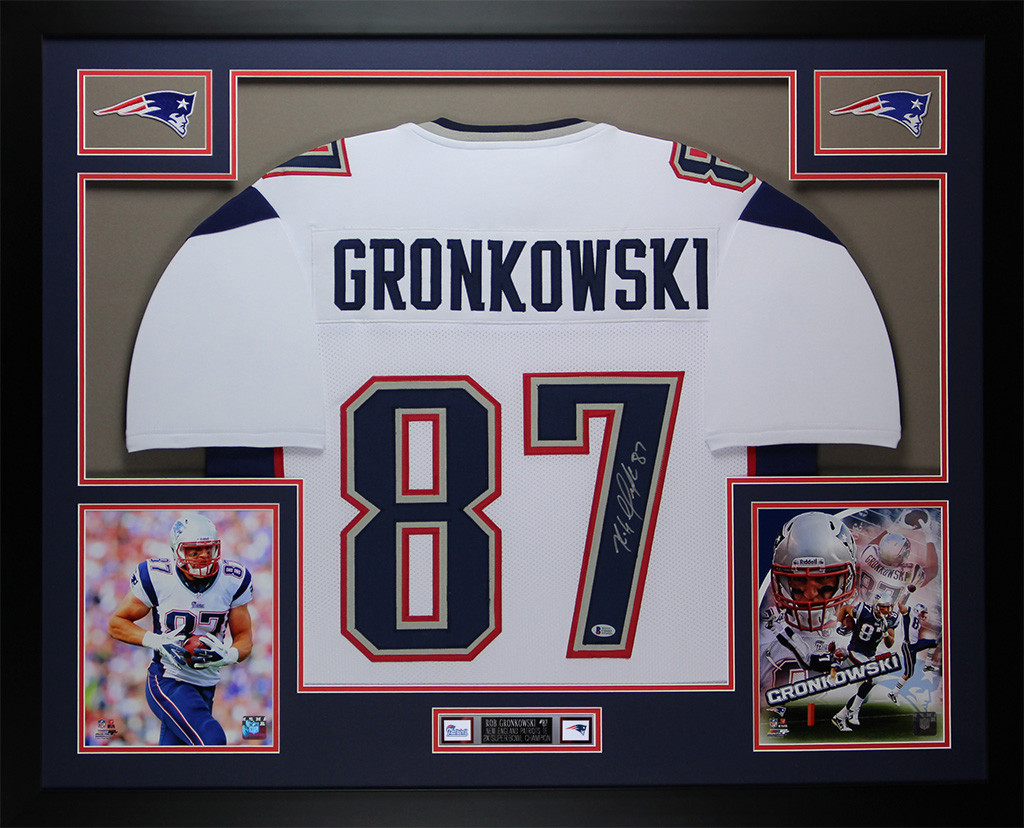 Rob Gronkowski Autographed and Framed White Patriots Jersey