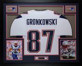Rob Gronkowski Autographed & Framed White New England Patriots Jersey Auto Beckett Certified