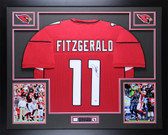 Larry Fitzgerald Autographed & Framed Red Arizona Cardinals Jersey Auto PSA COA