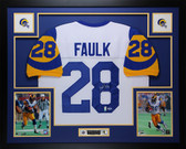 Marshall Faulk Autographed & Framed White St. Louis Rams Jersey PSA COA