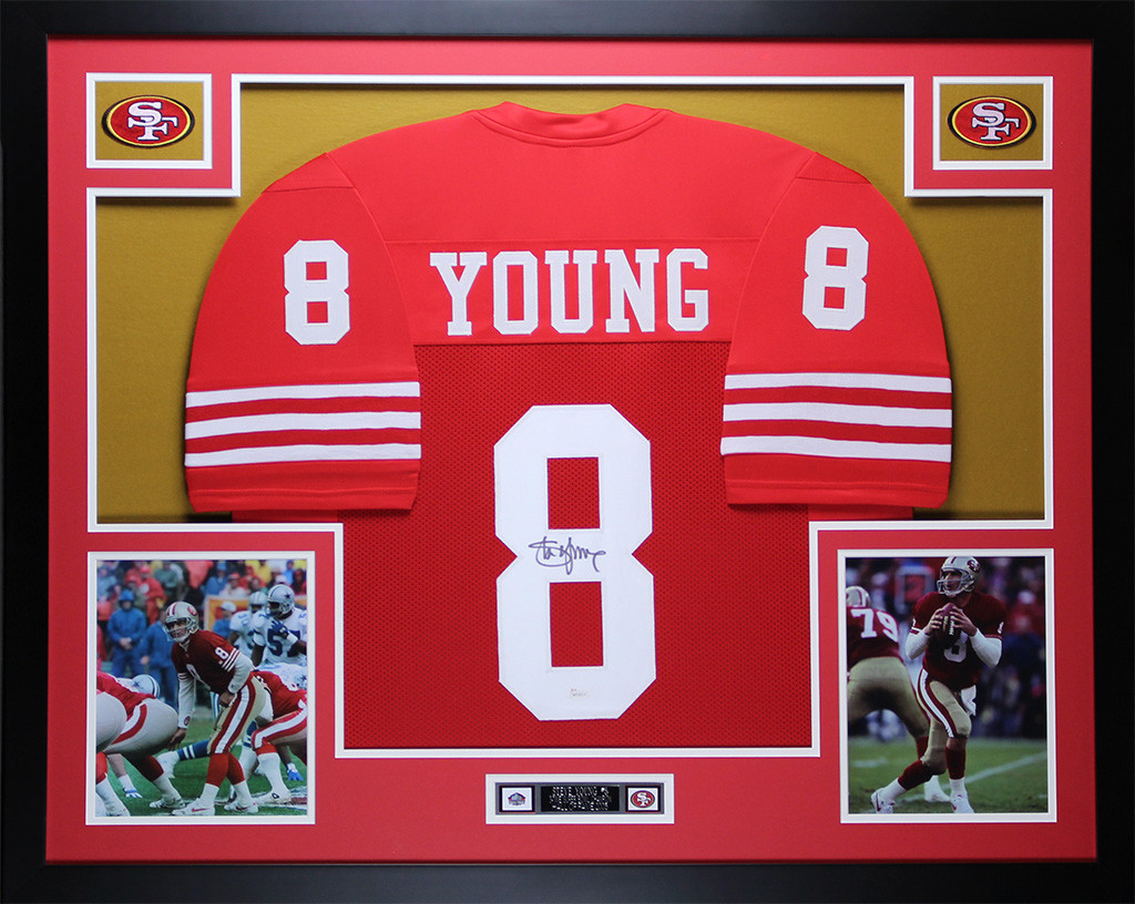 the best attitude bfb3d 03997 Steve Young Autographed and Framed Red 49ers Jersey