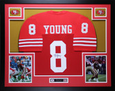 Steve Young Autographed & Framed Red San Francisco 49ers Jersey Auto JSA Certified