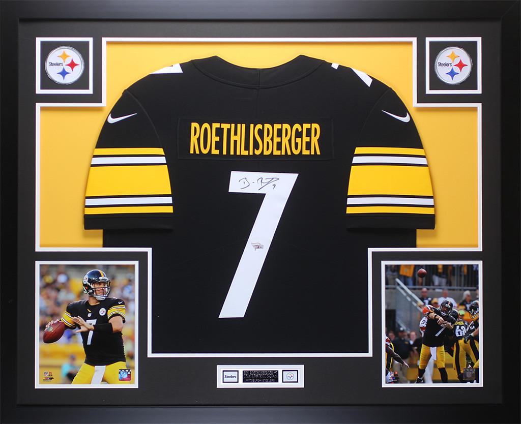 20fc3b71bdc Ben Roethlisberger Autographed & Framed Black Pittsburgh Steelers Jersey  Auto Fanatics COA. Loading zoom