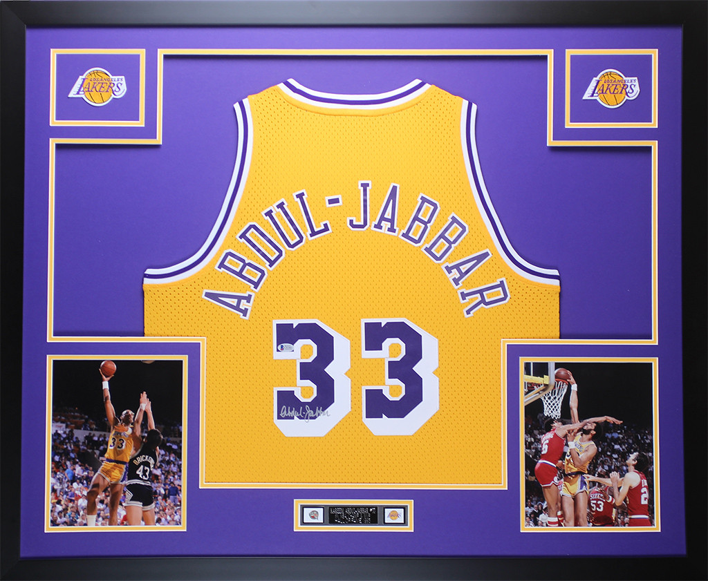 bd1d1a32f Kareem Abdul-Jabbar Autographed   Framed Gold Los Angeles Lakers Jersey  Auto Beckett COA. Loading zoom