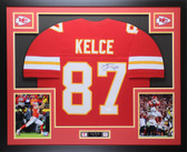 Travis Kelce Autographed & Framed Red Kansas City Chiefs Auto JSA COA
