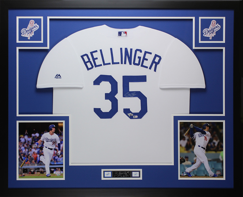 Cody Bellinger Autographed and Framed White Los Angeles Dodgers Jersey Auto  Fanatics COA. Loading zoom f5a88d3a637