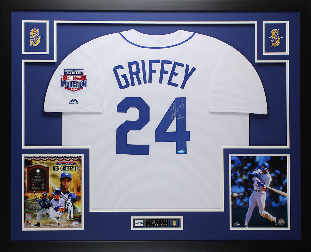 lowest price 28763 338bc Ken Griffey Jr. Autographed and Framed White Mariners Jersey