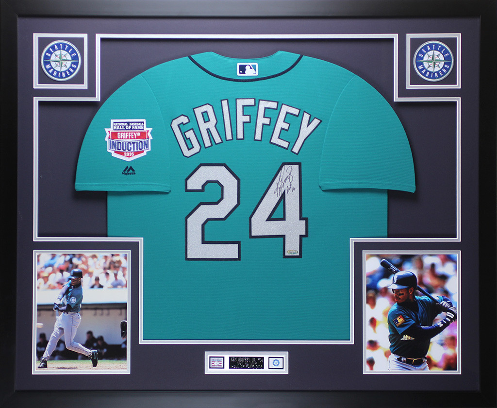 size 40 6d34b ef8d4 Ken Griffey Jr. Autographed and Framed Teal Mariners Jersey