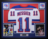 Mark Messier Autographed & Framed White New York Rangers Jersey JSA COA