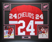 Chris Chelios Autographed & Framed Red Detroit Redwings Jersey JSA COA