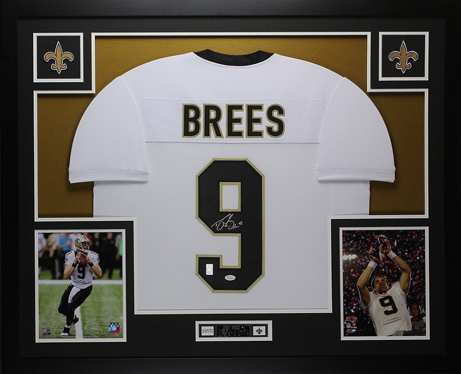 6dd85785 Drew Brees Autographed and Framed White Saints Jersey
