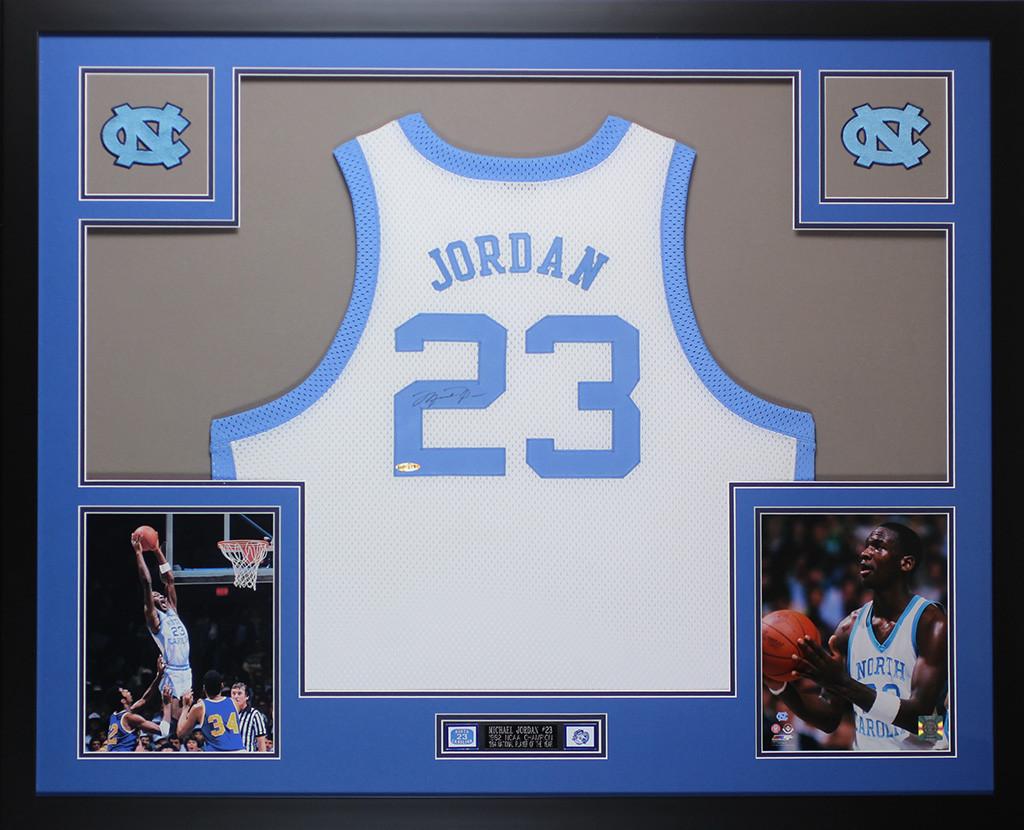 newest 51166 f6b7b Michael Jordan Autographed and Framed White North Carolina ...