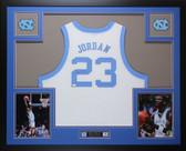 Michael Jordan Autographed & Framed White UNC Tar Heels Auto PSA COA