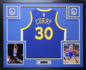 Stephen Curry Autographed & Framed Blue Golden State Warriors Jersey Auto Steiner COA