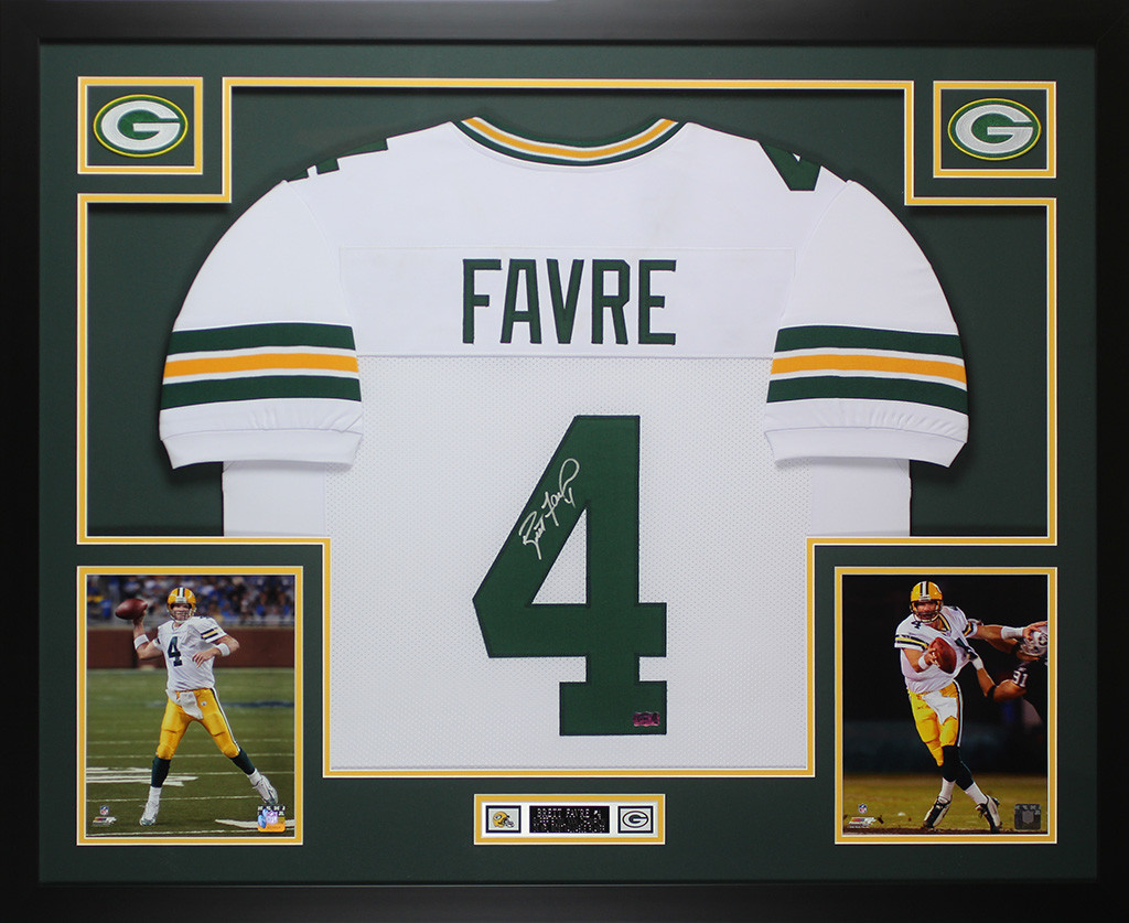 big sale a1ca5 53612 Brett Favre Autographed and Framed White Packers Jersey