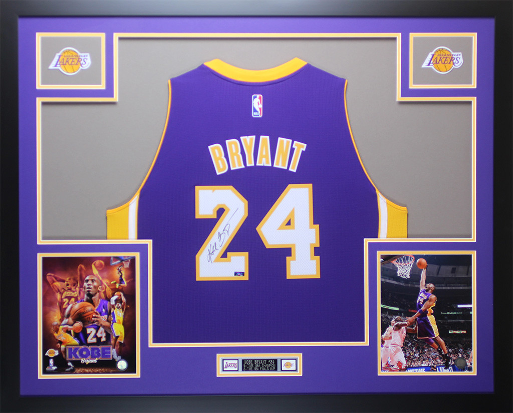 e24f8d87563 Kobe Bryant Autographed and Framed Purple Los Angeles Lakers Jersey
