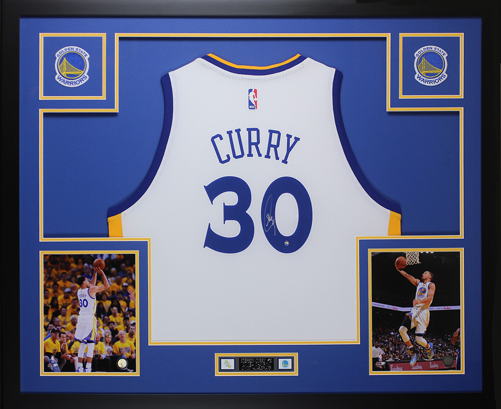 f258c8b050cc Stephen Curry Autographed   Framed White Golden State Warriors Jersey Auto  Steiner COA. Loading zoom