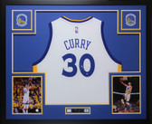 Stephen Curry Autographed & Framed White Golden State Warriors Jersey Auto Steiner COA