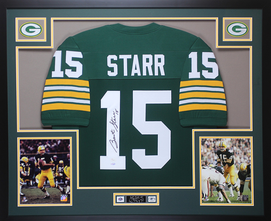 reputable site a708d ba0ef Bart Starr Autographed and Framed Green Packers Jersey