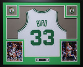 Larry Bird Autographed and Framed White Boston Celtics  Jersey Auto Beckett COA