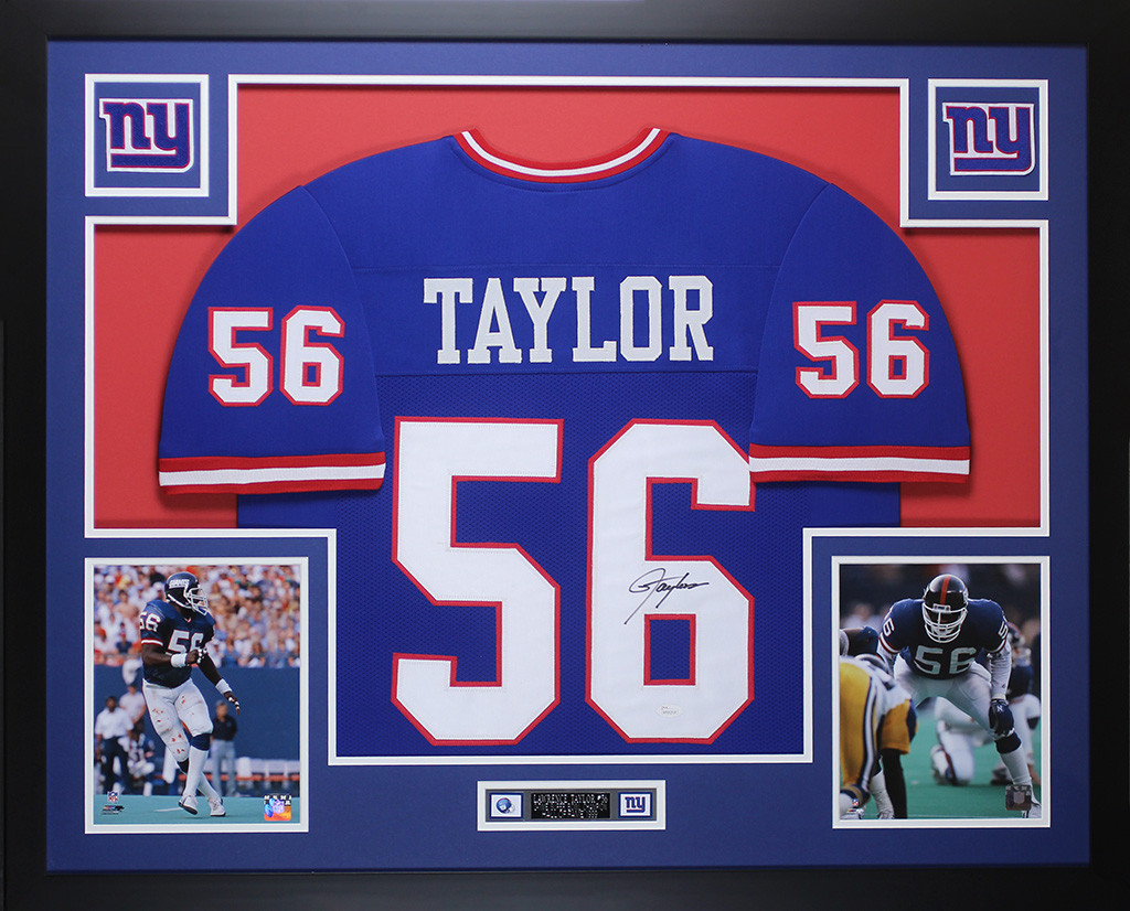 4249ad3c140 Lawrence Taylor Autographed and Framed Blue Giants Jersey