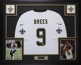 Drew Brees Autographed & Framed White New Orleans Saints Jersey Auto PSA COA