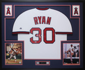 Nolan Ryan Autographed & Framed White California Angels Jersey Auto Beckett COA