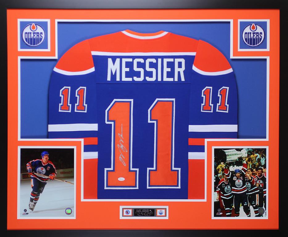 72b0f9b1008 Mark Messier Autographed & Framed Blue Edmonton Oilers Jersey Auto JSA COA.  Loading zoom