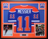 Mark Messier Autographed & Framed Blue Edmonton Oilers Jersey Auto JSA COA