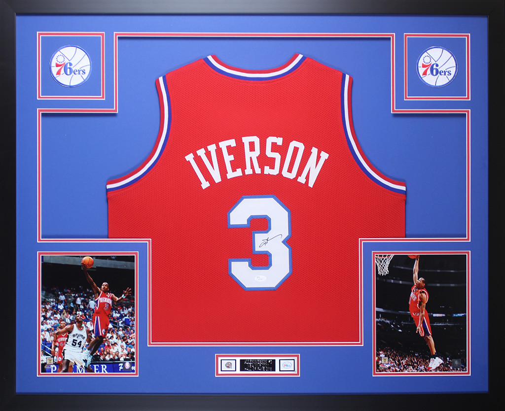 ec10b6090ab Allen Iverson Autographed and Framed Red Philadelphia 76ers Jersey Auto JSA  COA. Loading zoom