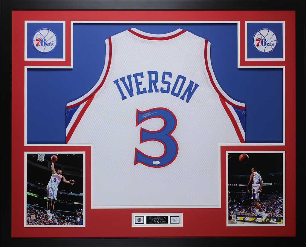 the latest bcb5f bb9f2 Allen Iverson Autographed and Framed White Philadelphia ...