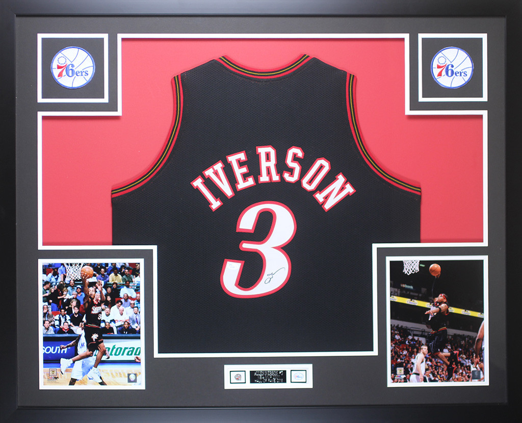 ae0dfdc165b Allen Iverson Autographed and Framed Black Philadelphia 76ers Jersey Auto JSA  COA. Loading zoom