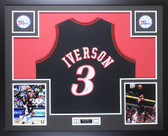 Allen Iverson Autographed and Framed Black Philadelphia 76ers Jersey Auto JSA COA